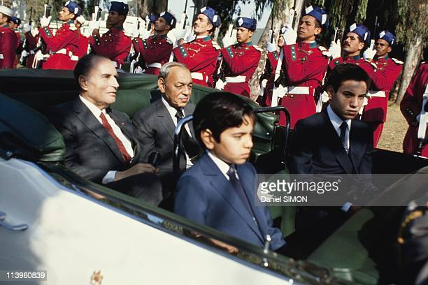 Mime Marcel Marceau In Rabat Morocco On January 28 1983French President Francois Mitterrand during his visit to Morocco on the official state car...