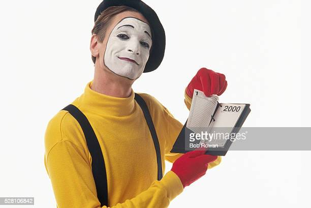 Mime Patrick Treadway Holding Year 2000 Desk Calendar