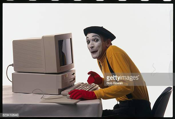 Mime Patrick Treadway with Computer