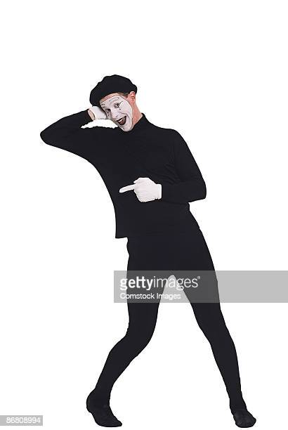 mime pointing - mime stock photos and pictures