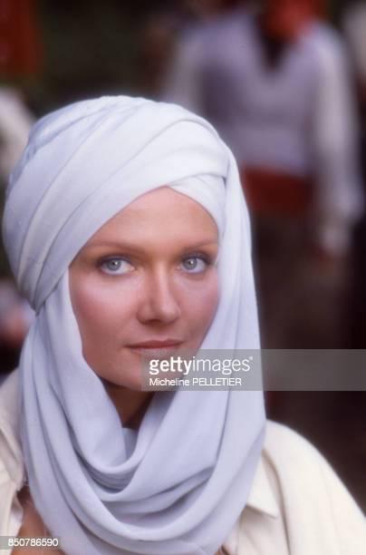 Mimi Coutelier sur le tournage du film 'Liberté Égalité Choucroute' réalisé par Jean Yanne en septembre 1984 France