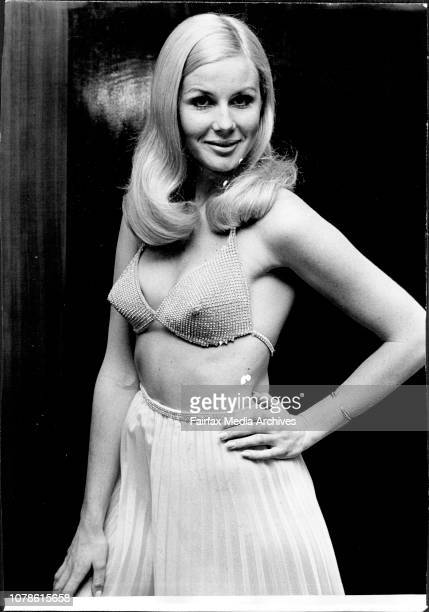 Mimi Dickson wears a jewelled bra with pleated chiffon culottes in whiteGrace Bros 'Showcase International' 1969 was held yesterday in the Grand...