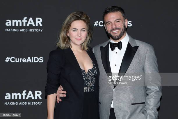 Mimi Eyears and Eric Muscatell pose during the amfAR gala dinner at the house of collector and museum patron Eugenio López on February 5 2019 in...