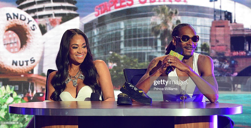 Mimi Faust and Snoop Dogg at the BET Hip Hop awards at Boisfeuillet Jones Atlanta Civic Center on September 20, 2014 in Atlanta, Georgia.
