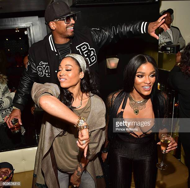 """Mimi Faust, Stevie J and Joseline Hernandez attends the ATL Premiere Of WE Tv's """"Growing Up Hip Hop"""" after party at Whiskey Park at W Atlanta -..."""