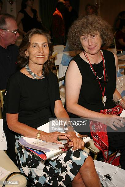 Mimi Liebeskind and Patricia McLaughlin pose for a photo at the Matthew Earnest Spring 2005 fashion show during the Olympus Fashion Week Spring 2005...