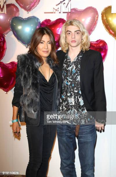 Mimi Nishikawa and Sacha Bailey attend the Wonderland Magazine x MTV Party during London Fashion Week February 2018 at The Ned Hotel on February 16...