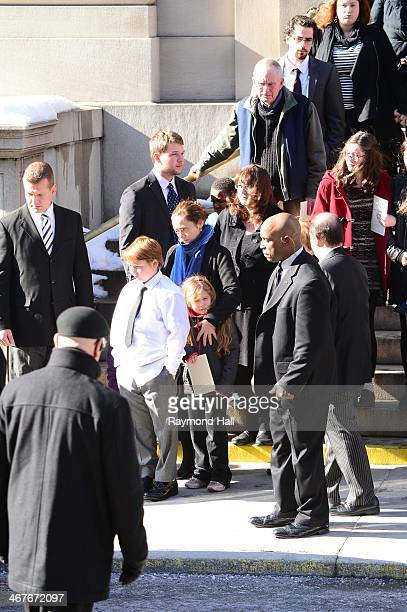 Mimi O'Donnell and her children, Cooper Hoffman, Willa Hoffman and Tallulah Hoffman with Hoffman's mother Marilyn O'Connor attend the funeral service...