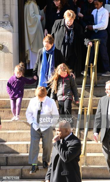 Mimi O'Donnell and her children Cooper Hoffman Willa Hoffman and Tallulah Hoffman with Hoffman's mother Marilyn O'Connor attend the funeral service...
