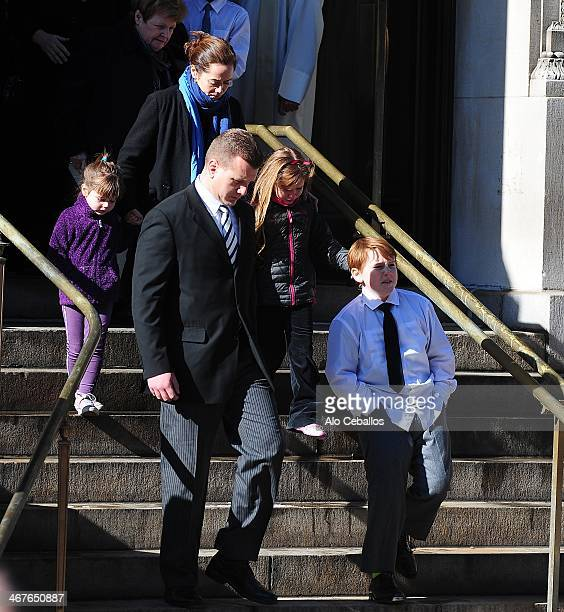 Mimi O'Donnell Cooper Alexander Hoffman Tallulah Hoffman and Willa Hoffman attend the funeral service for actor Philip Seymour Hoffman who died of an...