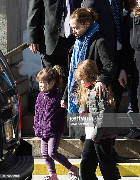 Mimi O'Donnell partner of actor Philip Seymour Hoffman along with their children Willa Hoffman and Tallulah Hoffman leave the funeral service for...