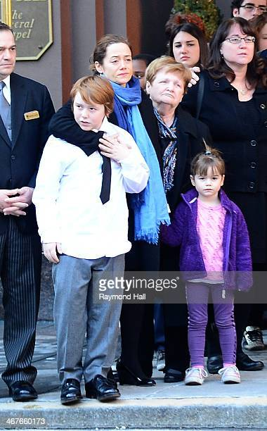 Mimi O'Donnell , partner of actor Philip Seymour Hoffman, along with their children , Willa Hoffman, Tallulah Hoffman and Cooper Hoffman,Marilyn...