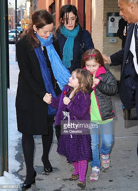 Mimi O'Donnell Tallulah Hoffman and Willa Hoffman are seen in the West Village on February 6 2014 in New York City