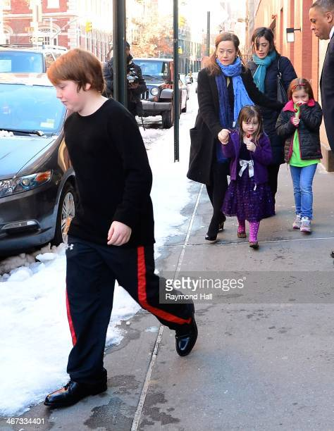 Mimi O'Donnell with her children Cooper Hoffman Willa Hoffman and Tallulah Hoffman are seen outside actor Philip Seymour Hoffman's expartner Mimi...