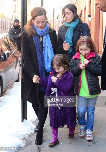 Mimi O'Donnell with her children Cooper Hoffman Willa Hoffman Tallulah Hoffman are seen outside actor Philip Seymour Hoffman's expartner Mimi...