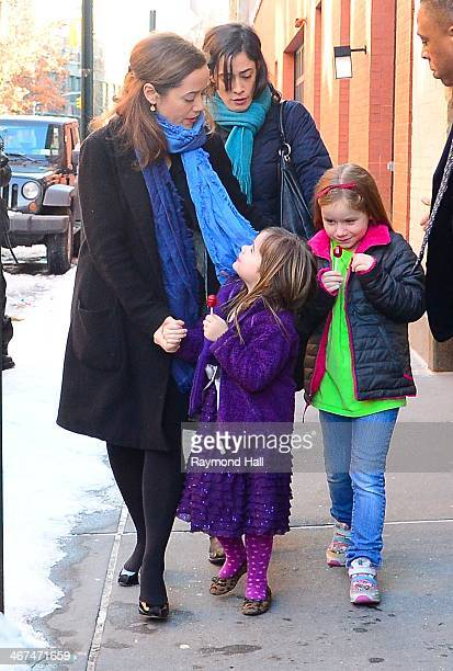Mimi O'Donnell with her childrenWilla Hoffman and Tallulah Hoffman are seen outside actor Philip Seymour Hoffman's expartner Mimi O'Donnell's...