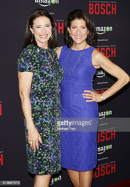 Mimi Rogers and Amy Aquino arrive at the premiere of Amazon's 'Bosch' season 2 held at SilverScreen Theater at the Pacific Design Center on March 3...