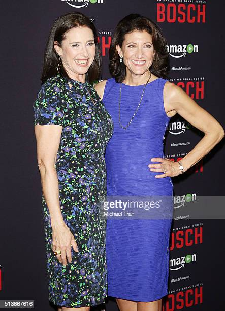 """Mimi Rogers and Amy Aquino arrive at the premiere of Amazon's """"Bosch"""" season 2 held at SilverScreen Theater at the Pacific Design Center on March 3,..."""