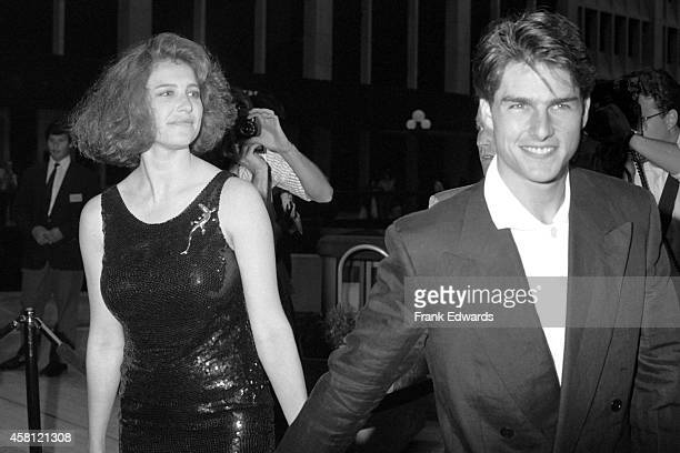 Mimi Rogers and husband Tom Cruise attend the premiere of 'Ishtar' on May 13 1987 in Century City California