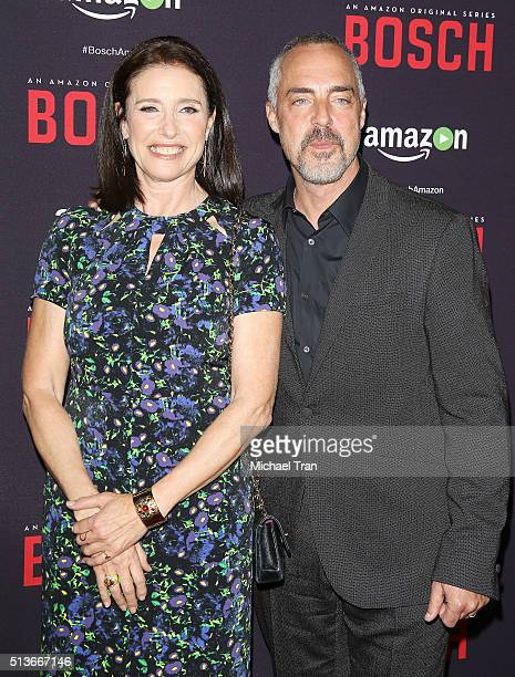 """Mimi Rogers and Titus Welliver arrive at the premiere of Amazon's """"Bosch"""" season 2 held at SilverScreen Theater at the Pacific Design Center on March..."""