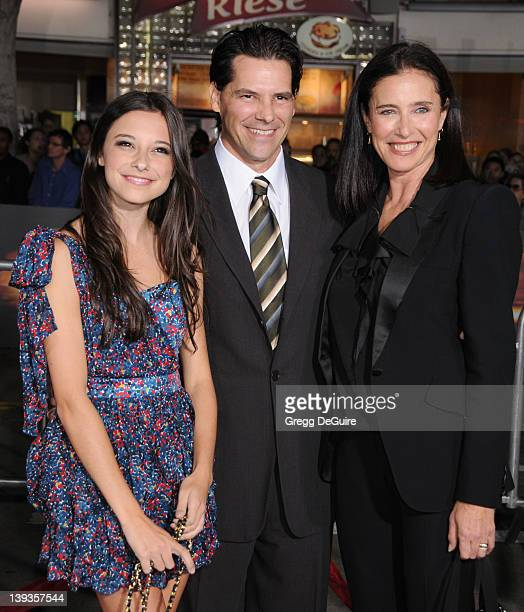 Mimi Rogers Chris Ciaffa and daughter Lucy arrive at the World Premiere of Unstoppable at the Regency Village Theater on October 26 2010 in Westwood...