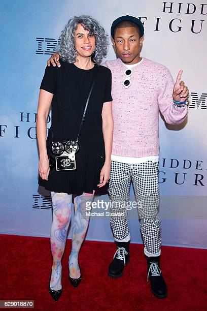 """Mimi Valdes and singer Pharrell Williams attends the """"Hidden Figures"""" New York special screening on December 10, 2016 in New York City."""