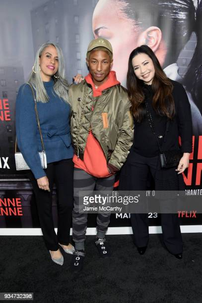Mimi Valdes Pharrell Williams and Nina Yang Bongiovi attend a special screening of the Netflix film 'Roxanne Roxanne' at the SVA Theater on March 19...