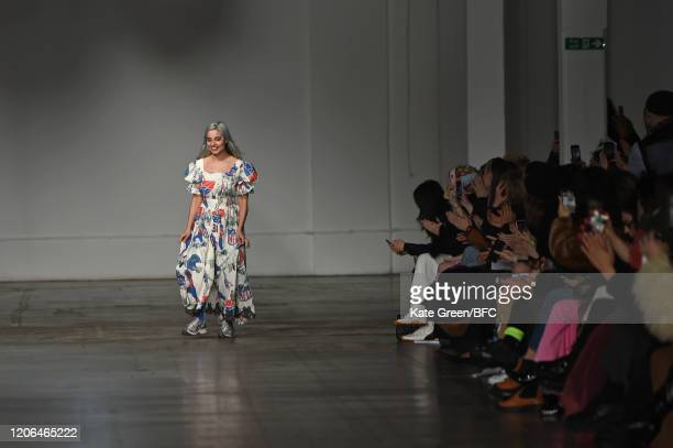 Mimi Wade walks the runway at the Mimi Wade show during London Fashion Week February 2020 at the The Truman Brewery on February 15 2020 in London...