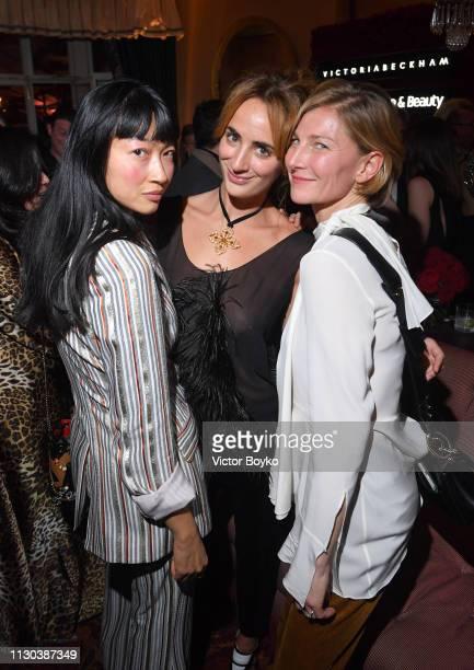 Mimi Xu Alexia Niedzielski and Elizabeth von Guttman attend the Victoria Beckham x YouTube Fashion Beauty After Party at London Fashion Week hosted...