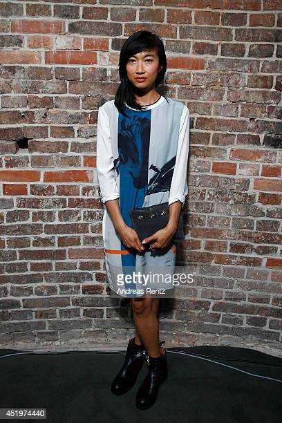 Mimi Xu is seen backstage ahead of the Schumacher show during the MercedesBenz Fashion Week Spring/Summer 2015 at Sankt Elisabeth Kirche on July 10...