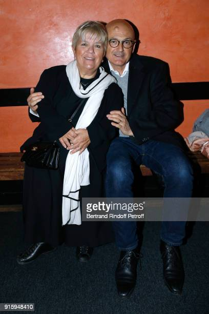Mimie Mathy and her husband Benoist Gerard attend the Alex Lutz One Man Show At L'Olympia on February 8 2018 in Paris France