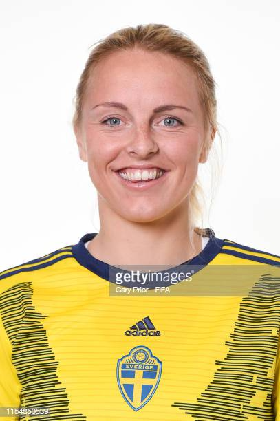 Mimmi Larsson of Sweden poses for a portrait during the official FIFA Women's World Cup 2019 portrait session at Hotel Mercure Rennes Centre Gare on...