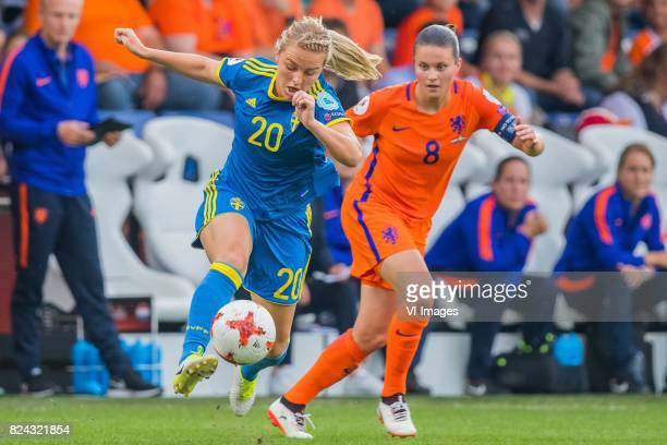 Mimmi Larsson of Sweden women Sherida Spitse of Holland Women during the UEFA WEURO 2017 quarter finale match between The Netherlands and Sweden at...