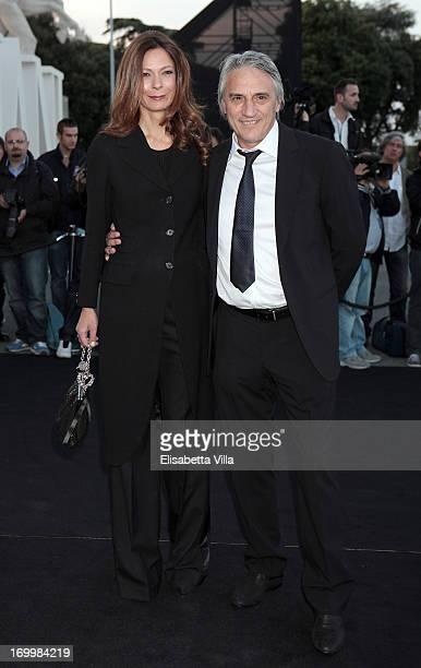 Mimmo Calopresti and wife Cristina Cosentino attend 'One Night Only' Roma hosted by Giorgio Armani at Palazzo Civilta Italiana on June 5 2013 in Rome...