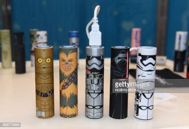 Mimoco's Star Wars The Force Awakens USB backup battery tubes are displayed on the first day of CES 2016 Consumer Electronics Show on January 6 2016...