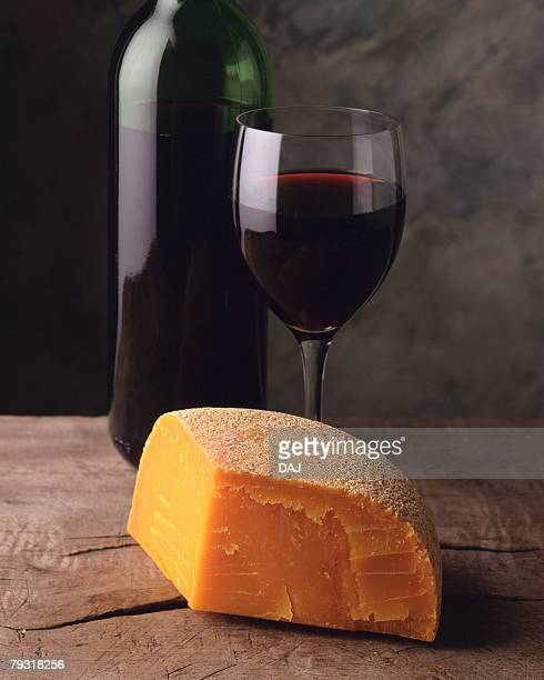 Mimolette Cheese and Red Wine, High Angle View