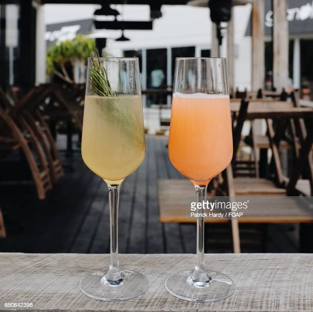 Mimosas cocktail on table