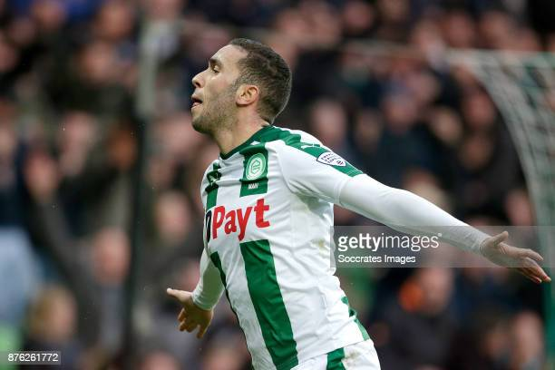 Mimoun Mahi of FC Groningen celebrates 32 during the Dutch Eredivisie match between FC Groningen v Vitesse at the NoordLease Stadium on November 19...