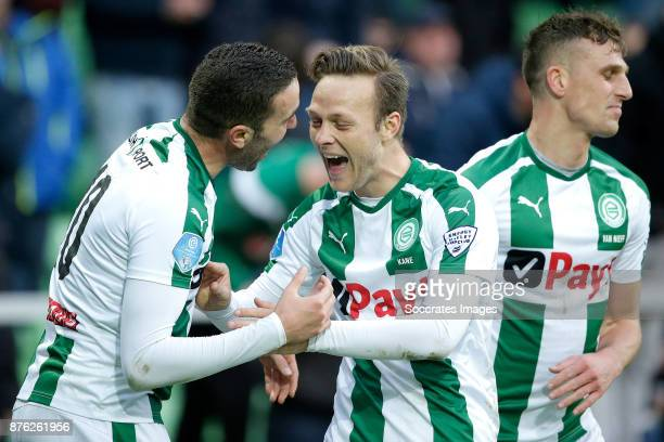 Mimoun Mahi of FC Groningen celebrates 32 with Todd Kane of FC Groningen during the Dutch Eredivisie match between FC Groningen v Vitesse at the...