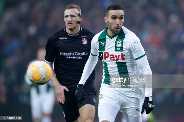 Mimoun Mahi of FC Groningen during the Dutch Eredivisie match between FC Groningen v FC Emmen at the NoordLease Stadium on December 16 2018 in...
