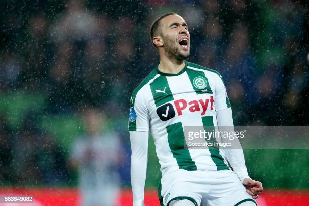 Mimoun Mahi of FC Groningen during the Dutch Eredivisie match between FC Groningen v Willem II at the Noordlease stadium on October 20 2017 in...