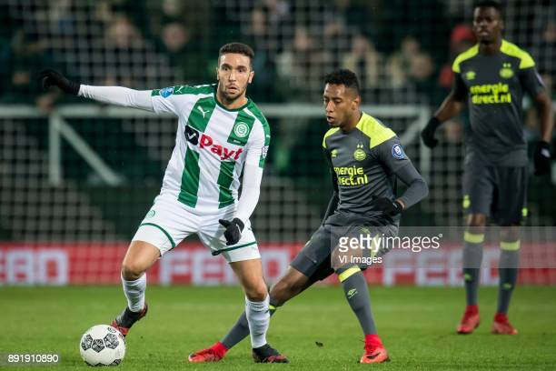 Mimoun Mahi of FC Groningen Joshua Brenet of PSV during the Dutch Eredivisie match between FC Groningen and PSV Eindhoven at Noordlease stadium on...