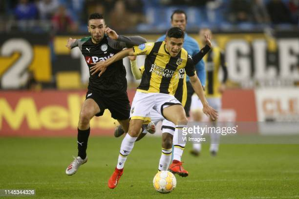 Mimoun Mahi of fC Groningen Navarone Foor of Vitesse during the Dutch Eredivisie play off match between Vitesse Arnhem and FC Groningen at Gelredome...