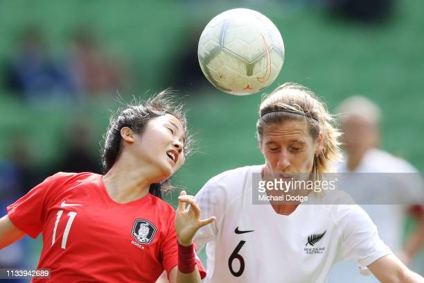 Min A Lee of Korea Republic competes for the ball against Rebekah Stott of New Zealand during the Cup of Nations match between the Korea Republic and...