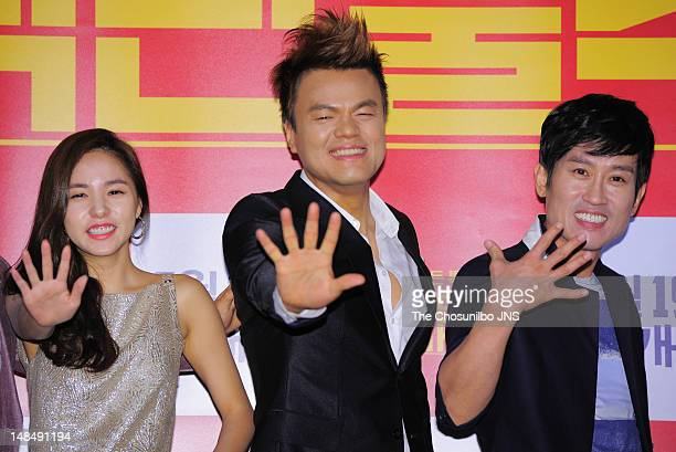 Min Hyo-Rin, Park Jin-Young,and Cho Hee-Bong attend the 'A Millionaire On The Run' VIP screening at Wangsimni CGV on July 11, 2012 in Seoul, South...
