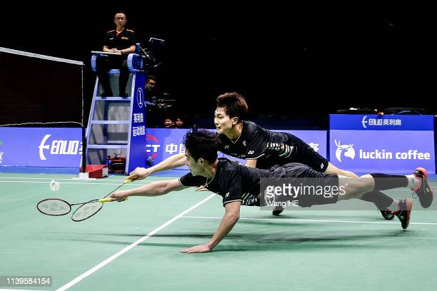 Min Hyuk Kang and Kim Won Ho of Korea in action during the Men's Doubles Semifinal match against Hiroyuki Endo and Yuta Watanabe of Japan at the 2019...