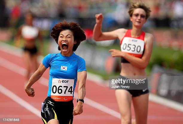 Min Jae Jeon of Republic of Korea celebrates winning the Women's 200m T36 final during day four of the IPC Athletics World Championships on July 23,...