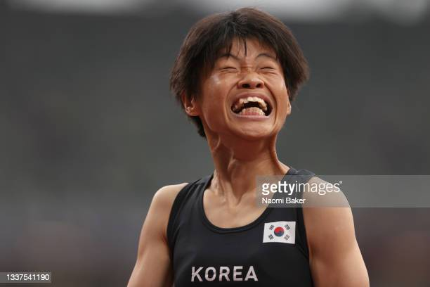 Min Jae Jeon of Team South Korea reacts after competing in the Women's 100m - T36 heat on day 8 of the Tokyo 2020 Paralympic Games at Olympic Stadium...