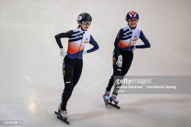 Min Jeong Choi and Ah Rum Noh of Korea celebrate in the Ladies 1500m final during day 1 of the ISU World Cup Short Track at EnergieVerbund Arena on...
