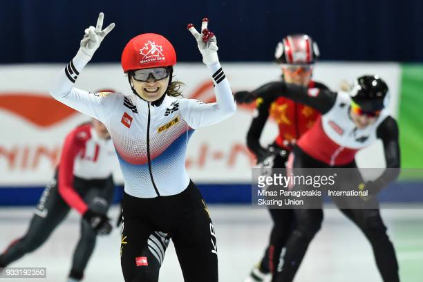 Min Jeong Choi of Korea finishes first in the women's 500 meter Final during the World Short Track Speed Skating Championships at Maurice Richard...